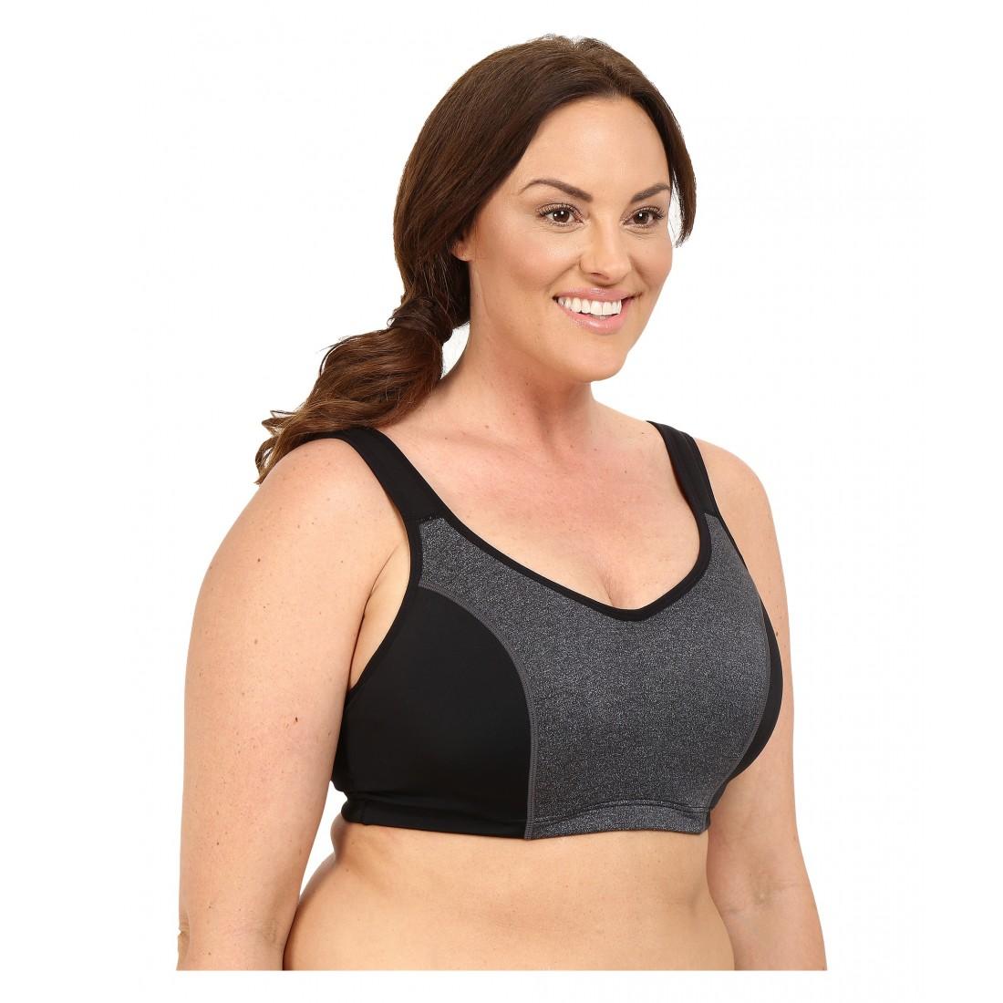 bf6d7b1d6b961 Marika Curves Gabriella Sport Bra 6PM8730401 Black Marl Solid Black Elastic