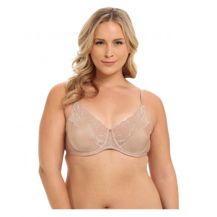 Natori Satin Fleur Full Figure Unlined Underwire Bra 6PM8645412 Buff