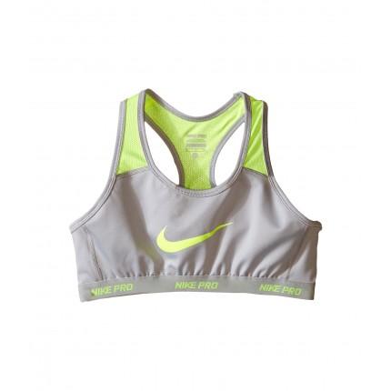 Nike Kids Pro Hypercool Sports Bra (Little Kids/Big Kids) 6PM8466204 Wolf Grey/Volt/Wolf Grey/Volt