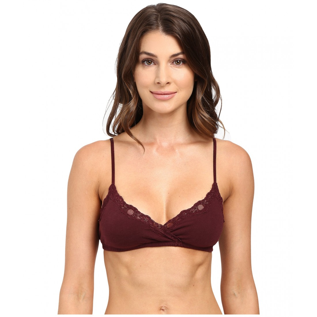 f64d548a6cb12 Only Hearts Organic Cotton Wrap Bralette 6PM8753339 Wine
