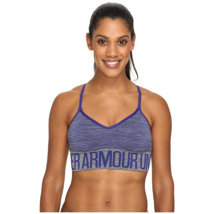 Under Armour UA Armour Seamless Low Feeder Stripe Bra 6PM8704618 Carbon Heather/Grape Fusion
