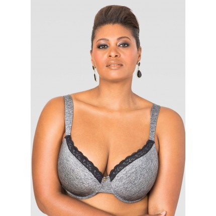 Ashley Stewart Heathered Lace Trim T-Shirt Bra ASW054-AS-4719-916