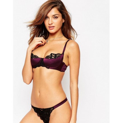 ASOS Leanna Lace Up Satin Half Cup Molded Underwire Bra AS781668