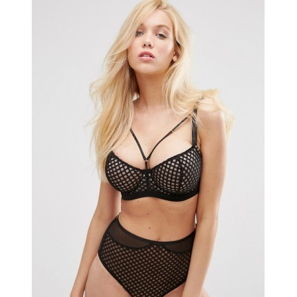ASOS FULLER BUST Nancy Underwired Fishnet & Mesh Bra AS868066