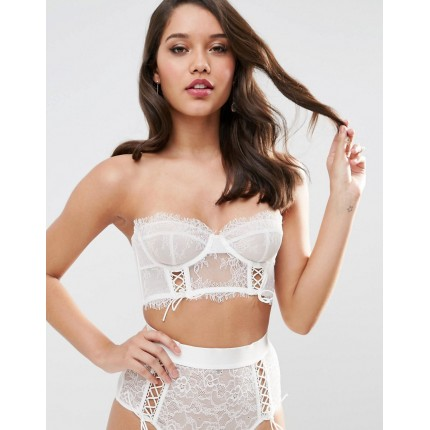 ASOS BRIDAL FAYE Satin & Lace Up Underwire Bustier Bra AS875075