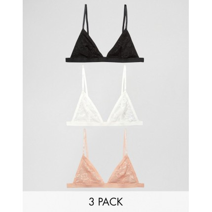 ASOS 3 Pack Lace Bra AS904337