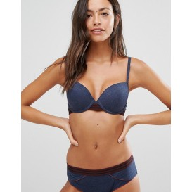 New Look Denim Marl T-Shirt Bra With Elastics