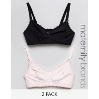 New Look Maternity 2 Pack Lace Trim Nursing Bra