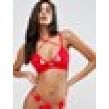 Wolf & Whistle Red Lace Cup Cross Over Strap Bra AS888363