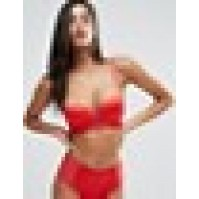Wolf & Whistle Red Satin Cut Out Front Bra