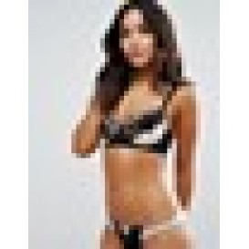 Wolf & Whistle Nude and Black Applique Bra