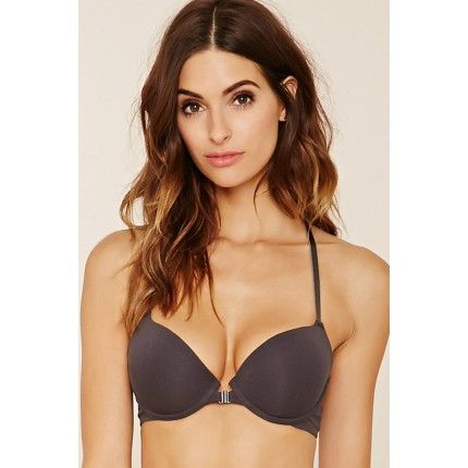 Forever 21 Lace-Back Push-Up Bra F2000222918 charcoal