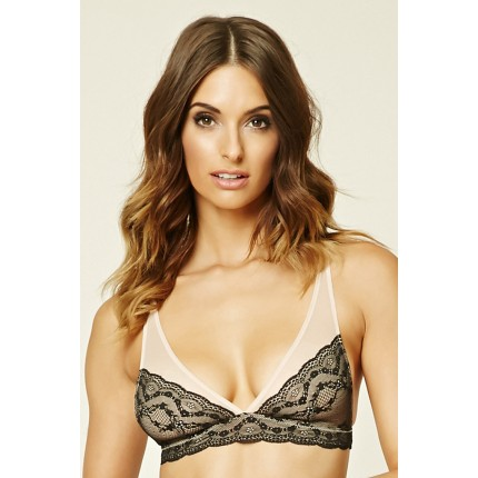 Forever 21 Lacy Mesh Bralette F2000235540 nude/black