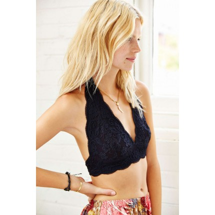 Out From Under Lace Halter Bra UO31011844 BLACK