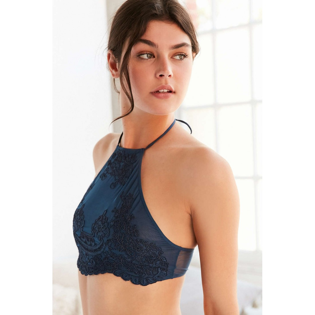 f18ed9dd58 Out From Under Madison Applique High Neck Bra UO39240973 BLUE