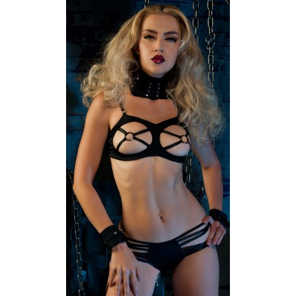 Baci Strappy Open Cup Bra with Nipple Ring YBA-BLF103