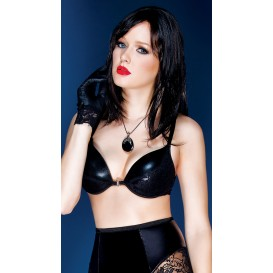 Coquette Wet Look and Lace Bra