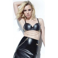 Coquette Black Wet Look Bra with Gold Chain