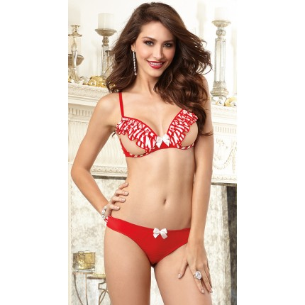 Dreamgirl Candy Cane Open Cup Bra YDG-10066