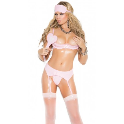 Elegant Moments Open Cup Pink Vinyl Shelf Bra YEM-V5123
