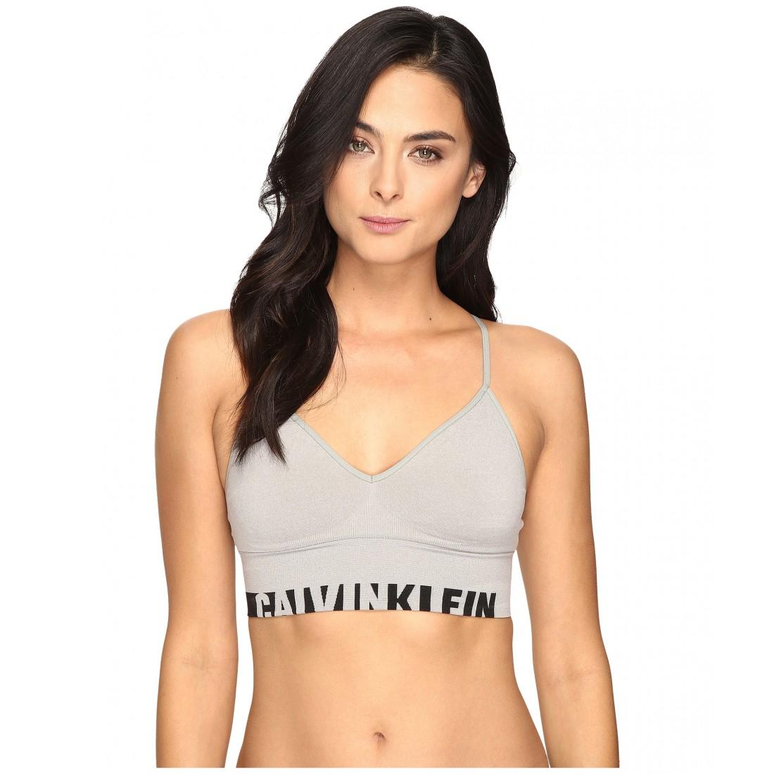 0389f28f8fb45c Calvin Klein Underwear Logo Cotton Longline Bralette ZPSKU 8717392 Grey  Heather