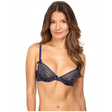 L'Agent by Agent Provocateur Siena Non Pad Plunge Bra ZPSKU 8816614 Navy/Gold