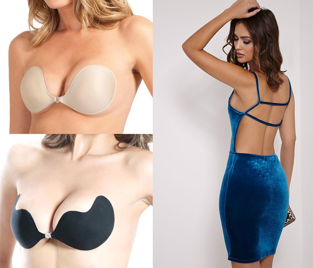 Backless Dress and Adhesive Bra Set